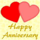 Happy Anniversary with two big red hearts Royalty Free Stock Photos