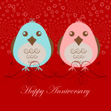 Happy Anniversary Two Love Birds Royalty Free Stock Image