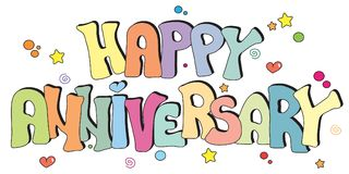 Happy anniversary written. Illustration with happy anniversary written Stock Photo