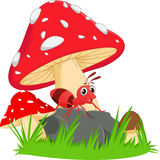 Happy ant cartoon with red mushroom Royalty Free Stock Photos