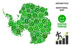 Vector Happiness Antarctica Map Collage of Smileys. Happy Antarctica map collage of smileys in green tints. Positive thinking vector concept. Antarctica map is royalty free illustration