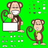 Happy ape cartoon expressions set. Monkey cartoon expressions set in vector format very easy to edit Stock Images