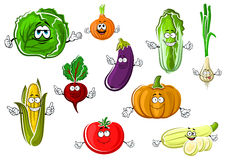 Happy appetizing cartoon isolated vegetables Royalty Free Stock Images