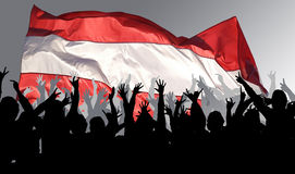 Happy, applauding people. With flag Stock Image