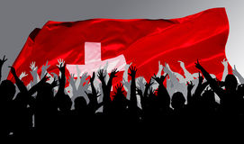 Happy, applauding people. With flag Stock Photo