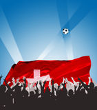 Happy, applauding people. With flag and ball Stock Photos