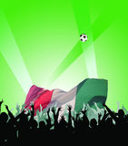 Happy, applauding people. With flag and ball Royalty Free Stock Images