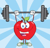 Happy Apple Character Lifting Weights Royalty Free Stock Images