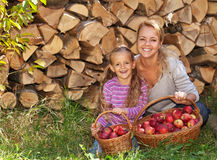 Happy apple harvesters Royalty Free Stock Photo