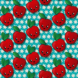 Happy apples pattern Stock Image