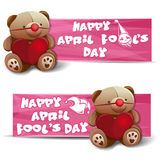 Happy April Fool`s Day. Banners set. Happy April Fool`s Day. Set banners with a Teddy bear, heart, fool`s cap and April Fool`s Day greetings. Banners for All Royalty Free Stock Photo