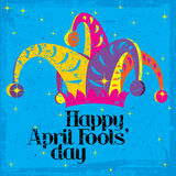 Happy April Fools' Day. Happy April Fools' Day on a colorful grungy background with sparkles Stock Image