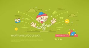 Happy april fools day greeting card banner linear web Stock Image
