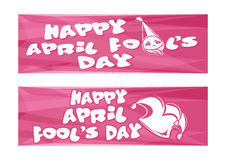 Happy April Fools Day. Set banners for April 1. Happy April Fools Day. Set pink banners for April 1. Vector illustration Royalty Free Stock Photography