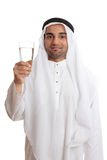 Happy arab man glass of fresh water Royalty Free Stock Image