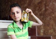 Happy arab muslim child with ramadan lantern Stock Image
