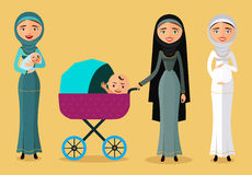 Happy Arab woman with a newborn baby in a flat stile. Mother with children flat cartoon vector illustration. Eps10. Isolated on a Royalty Free Stock Photography