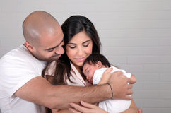 Happy arabic family at home Stock Images