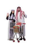 The happy arabic family after shopping isolated on white. Happy arabic family after shopping isolated on white royalty free stock image