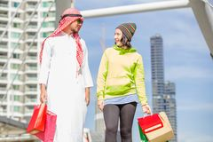 Arabic men shopping stock image