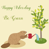 Happy Arbor Day. Illustration with beaver watering the tree. Environment Protection Stock Image