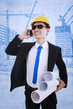 Happy architect calling on successful project Royalty Free Stock Photo