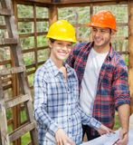 Happy Architect With Colleague At Site Royalty Free Stock Photo