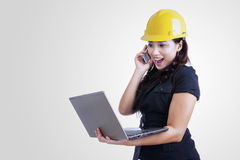 Architect laughing on the phone Royalty Free Stock Photo