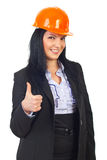 Happy architect woman giving thumbs Stock Image