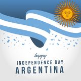 Happy Argentina Independent Day Vector Template Design Illustration. Argentina independence day flag banner waving celebration poster illustration background stock illustration
