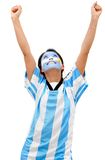 Happy Argentinean football fan Stock Photo