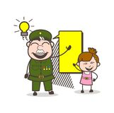 Happy Army Man Planning with Little Girl Vector Illustration Stock Photo