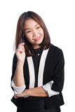 Happy asia business woman think about her plan Royalty Free Stock Photo