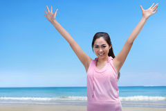 Happy asian athlete woman running exercise Royalty Free Stock Photography