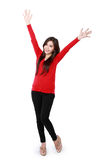 Happy asian attractive girl wearing red Stock Photos