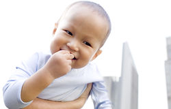 A happy asian baby boy Royalty Free Stock Photos