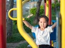 Happy asian baby child playing on playground Royalty Free Stock Photo