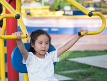 Happy asian baby child playing on playground Stock Photography