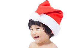 Happy asian baby with christmas hat Stock Images