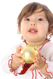 Happy asian baby holding an ornament upclose Stock Photography