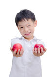 Happy Asian boy with apple Stock Image