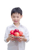 Happy Asian boy with apple Stock Images