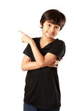 Happy asian boy pointing up Stock Photos
