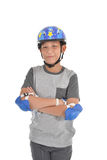 Happy Asian boy wearing safety guard Stock Photography