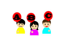 Happy asian boys and girls holding balloons on which ABC is written Stock Image