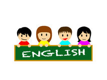 Happy asian boys and girls holding a blackboard on which ENGLISH is written Stock Photo