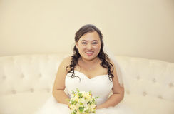Happy asian bride Stock Photo