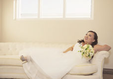Happy asian bride Stock Photography