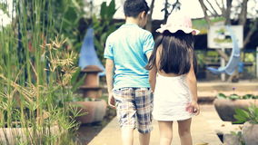 Happy asian brother and sister walking in garden and laughing stock video