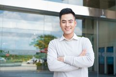 Happy asian business man portrait at the office Stock Photo